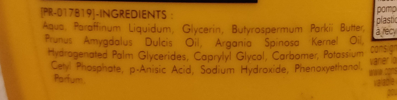 Lait soin hydratant - Ingredients