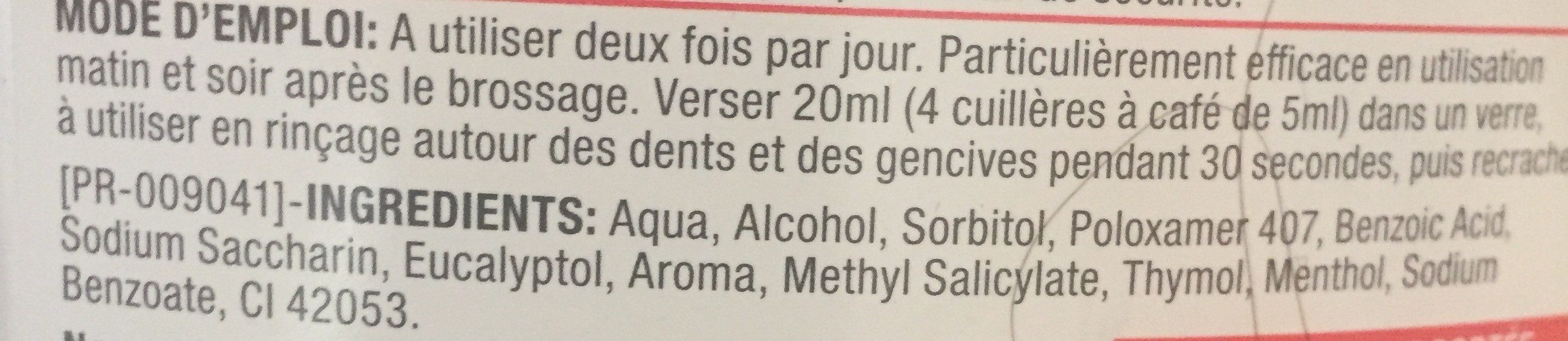 Bain de bouche quotidien - Ingredients - fr