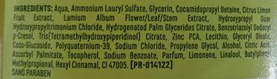 Shampoing doux purifiant à l'ortie blanche et au citron - Ingrédients - fr