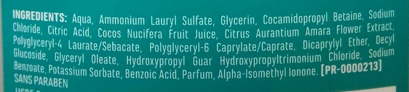 Shampooing hydratation sans silicone - Ingredients