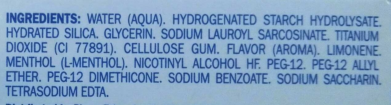 Dentifrice - Ingredients