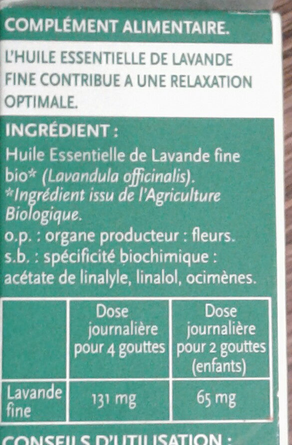 Huile Essentielle Lavande Fine Bio - Ingredients