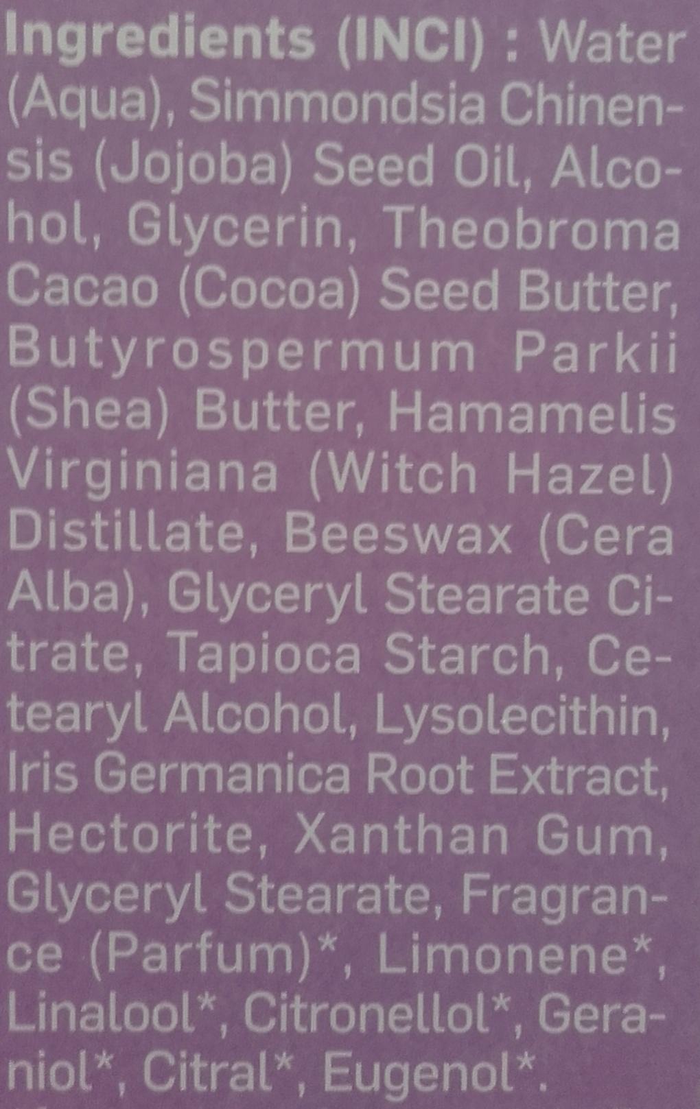 Iris Crème de jour hydratante - Ingredients