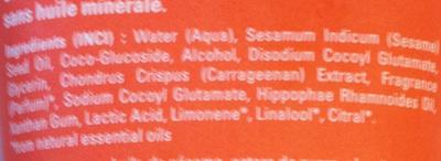 Crème de douche à l'Argousier - Ingredients