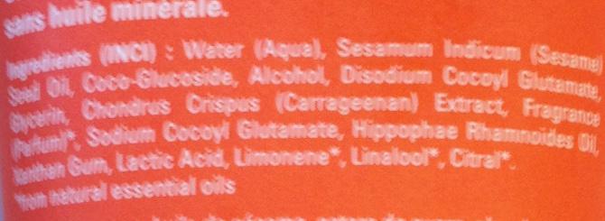 Crème de douche à l'Argousier - Ingredients - fr