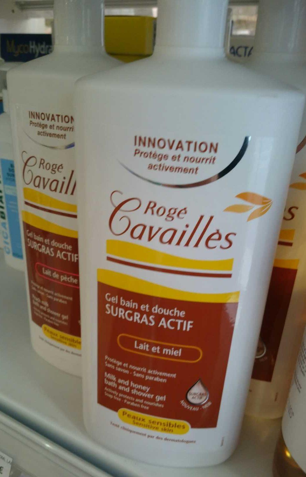 Gel bain et douche surgras actif lait et miel - Produit - fr