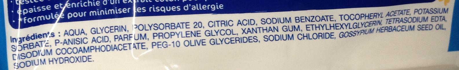 Lingettes douceur à l'eau nettoyante - Ingrédients
