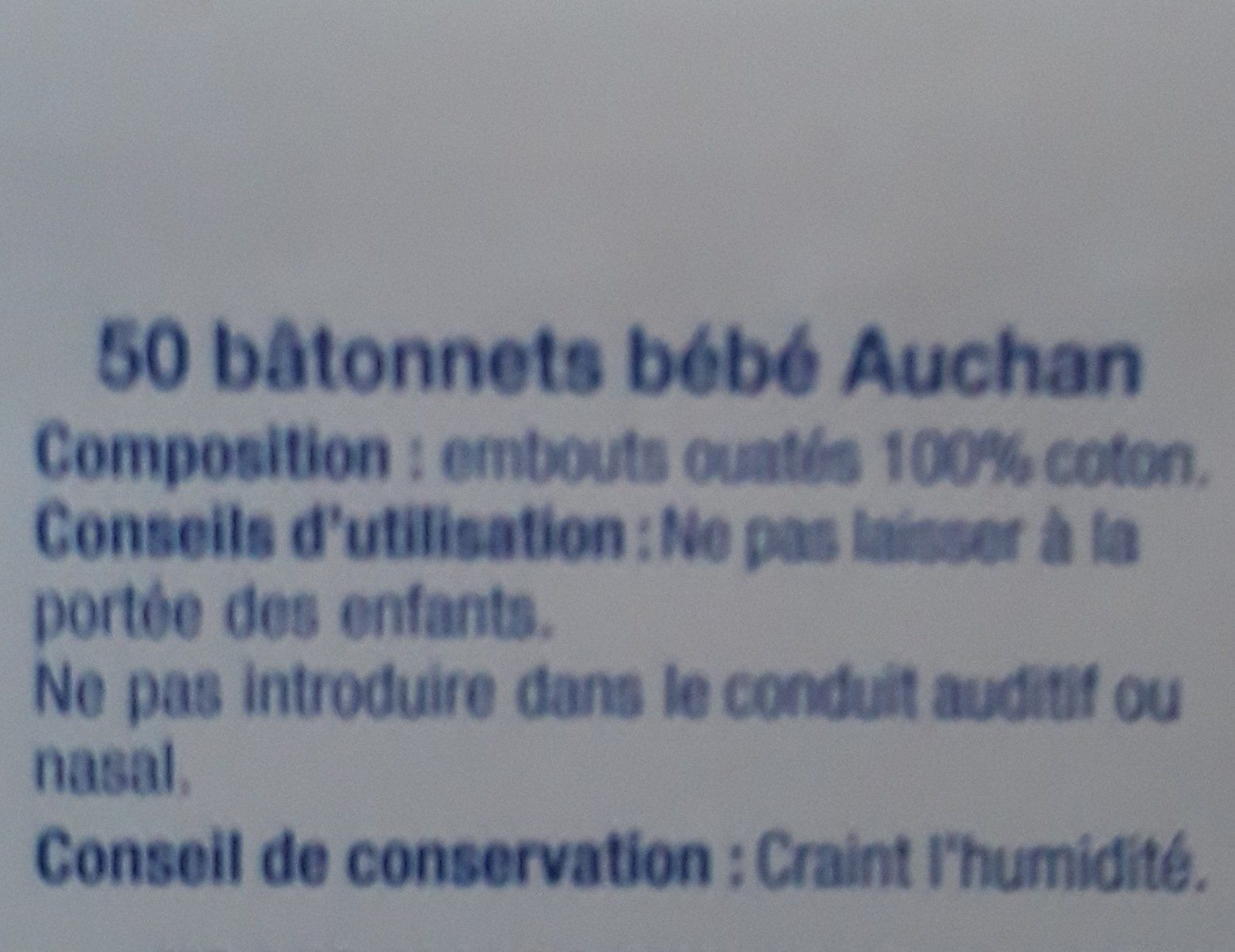 Auchan Batonnets Baby X50 - Ingredients