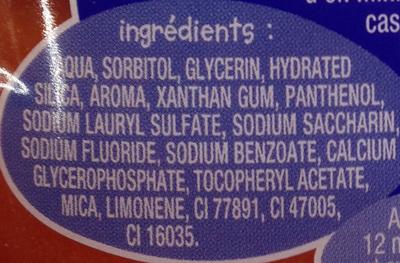 Dentifrice liquide enfant goût orange - Ingrédients