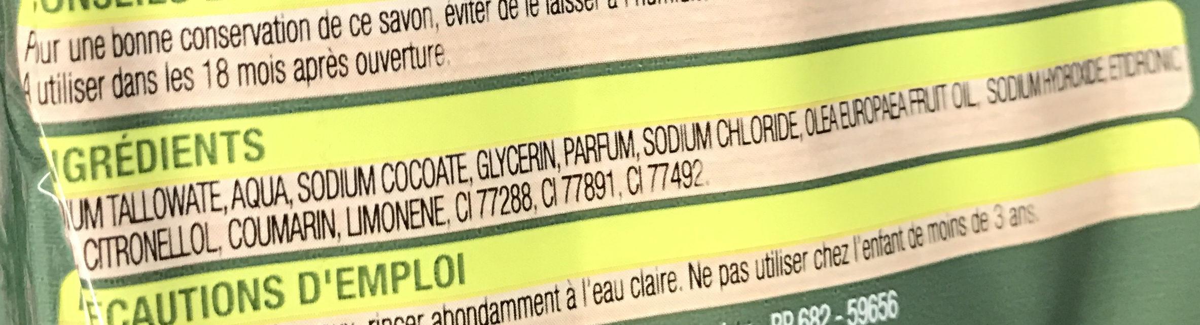Savon de toilette à l'huile d'olive - Ingrédients - fr