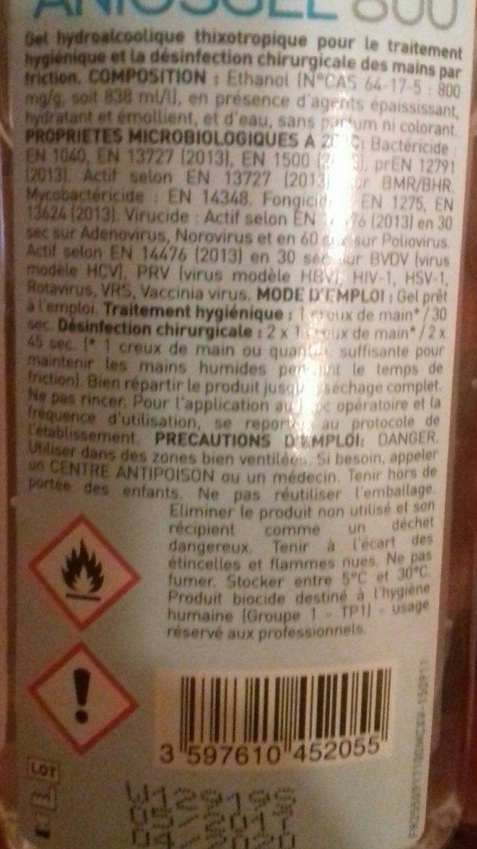 Gel désinfectant - Ingrédients - fr