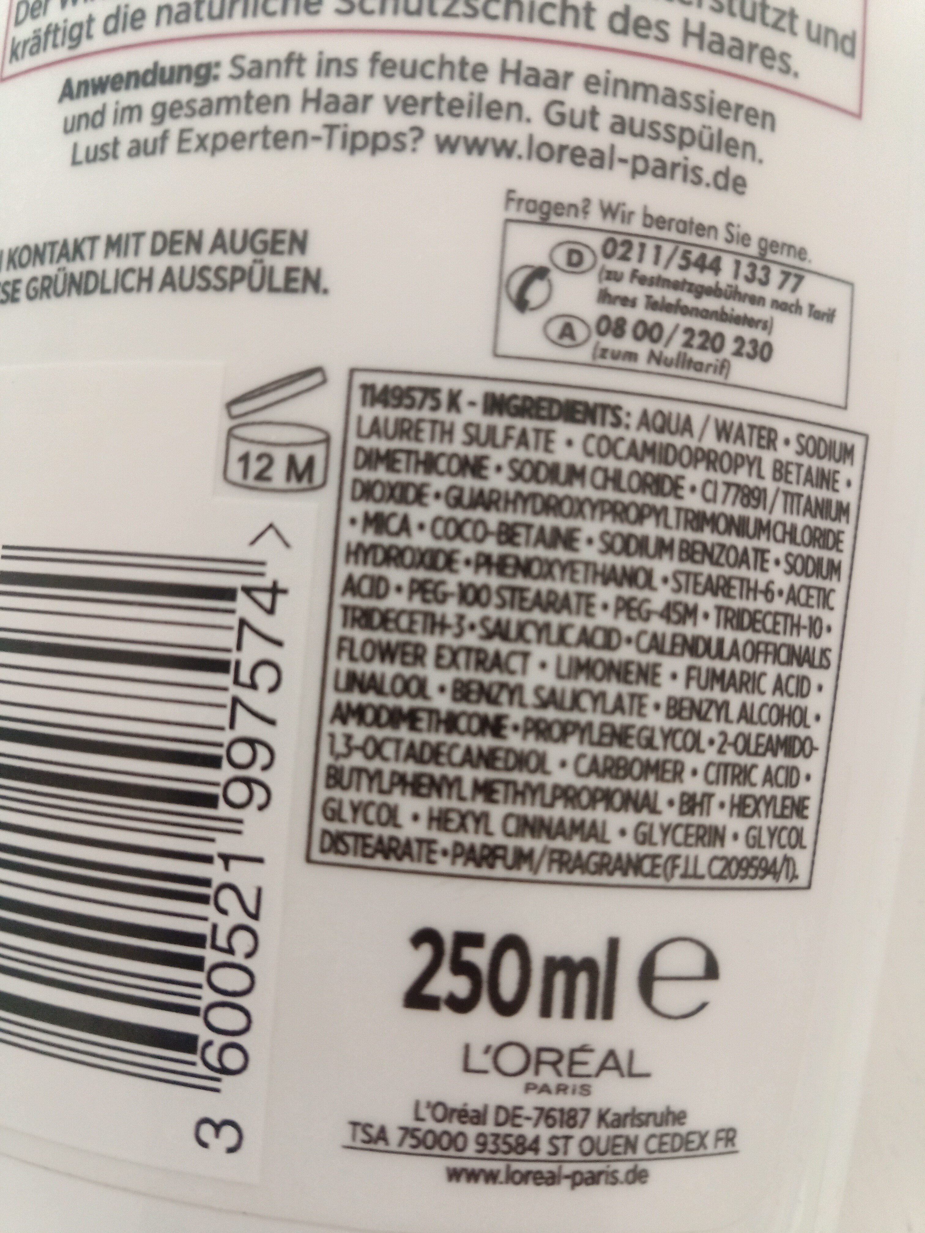 l'oréal paris elvital shampoo - Ingredients - en