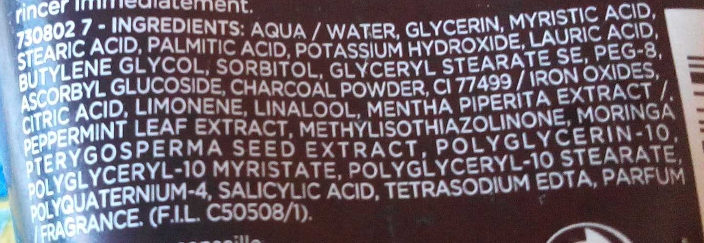 Hydra Energetic Gel purifiant charbon magnétique - Ingredients
