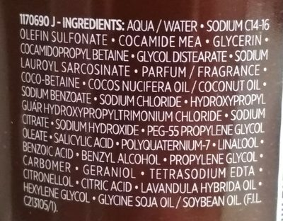Lavandin Concoction apaisante Shampooing - Ingredients