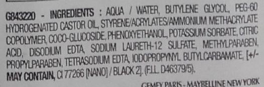 Master precise Liquid eye-liner - Noir - Ingredients