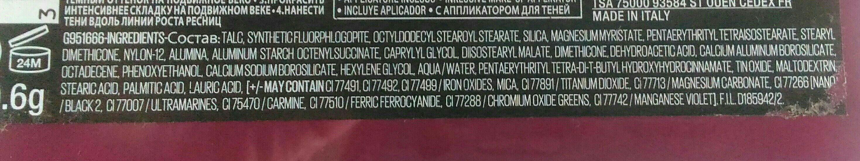 Maybelline Maybelline the Nudes Burgundy Eyeshadow Palette 9.6G - Ingredients
