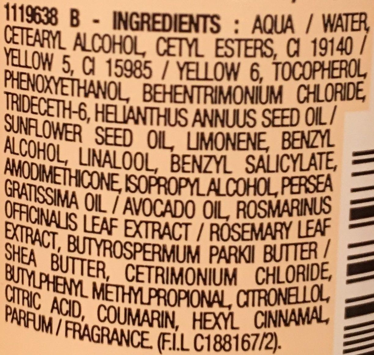 Crème de soin nutrition intense sans rinçage, à l'huile d'avocat et beurre de karité, cheveux très secs ou frisés - Ingrédients - fr