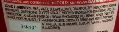 Ultra Doux Après-shampooing Crème Riche Huile d'Argan et Cranberry - Ingredients - fr