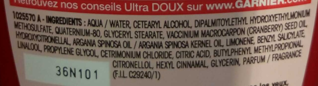 Ultra Doux Après-shampooing Crème Riche Huile d'Argan et Cranberry - Ingrédients