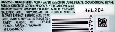 Ultra Doux Shampooing doux biodégradable à l'amande douce et fleur de lotus - Ingredients