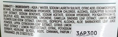 Ultra Doux Shampooing Détox Thé Vert & 5 Plantes - Ingredients - fr