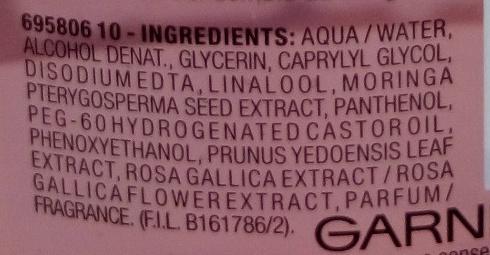 Tonique douceur super confort Extraits de cerisier adoucissant et de moringa purifiant - Ingrédients