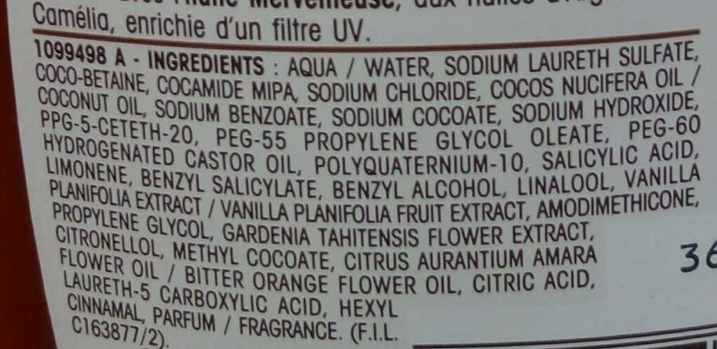 Shampooing soleil à l'huile de Monoï et Néroli - Ingrédients