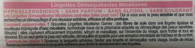 Lingettes démaquillantes micellaires, peaux sensibles. - Ingredients