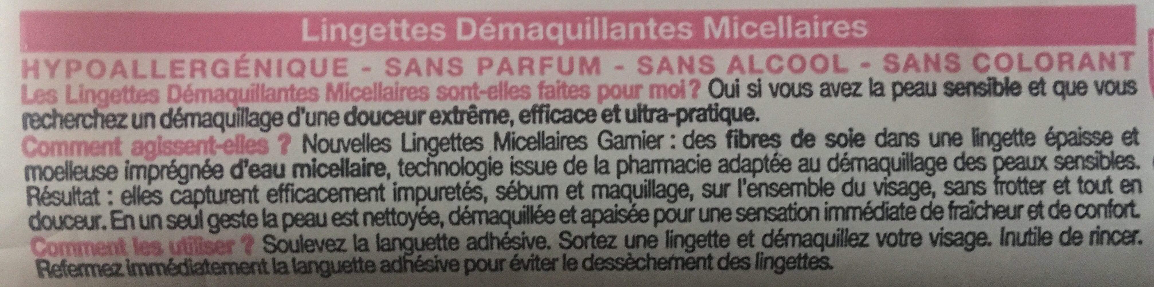 Lingettes démaquillantes micellaires, peaux sensibles. - Ingrédients - fr