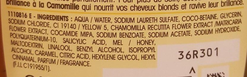 Ultra Doux Shampooing à la camomille et miel de fleurs - Ingredients
