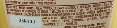Ultra Doux Après-shampooing Crème Riche Huile d'avocat et Beurre de Karité - Ingredients - fr