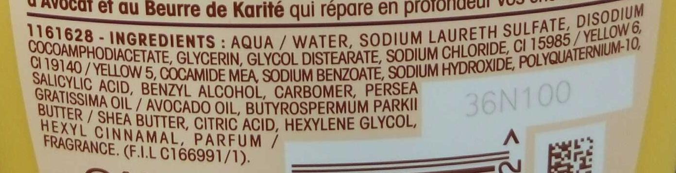 Ultra Doux Shampooing Nourrissant Huile d'Avocat et Beurre de Karité - Ingredients