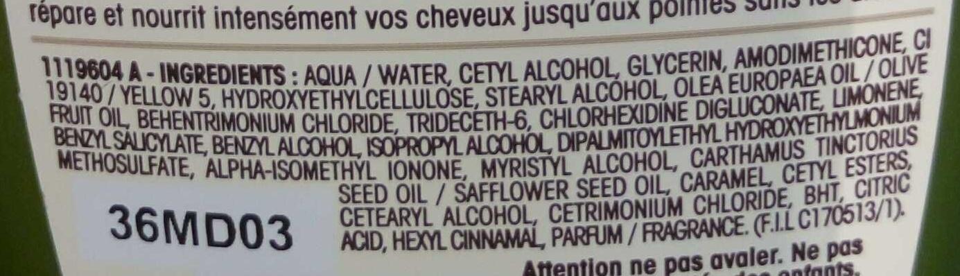 Ultra Doux Après-shampooing Nutrition Extrême Olive Mythique - Ingredients - fr