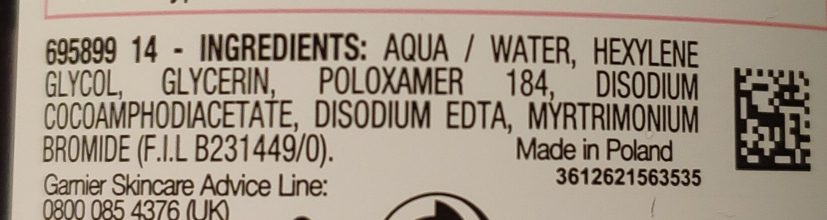 Micellar Cleansing Water - Ingrédients - en