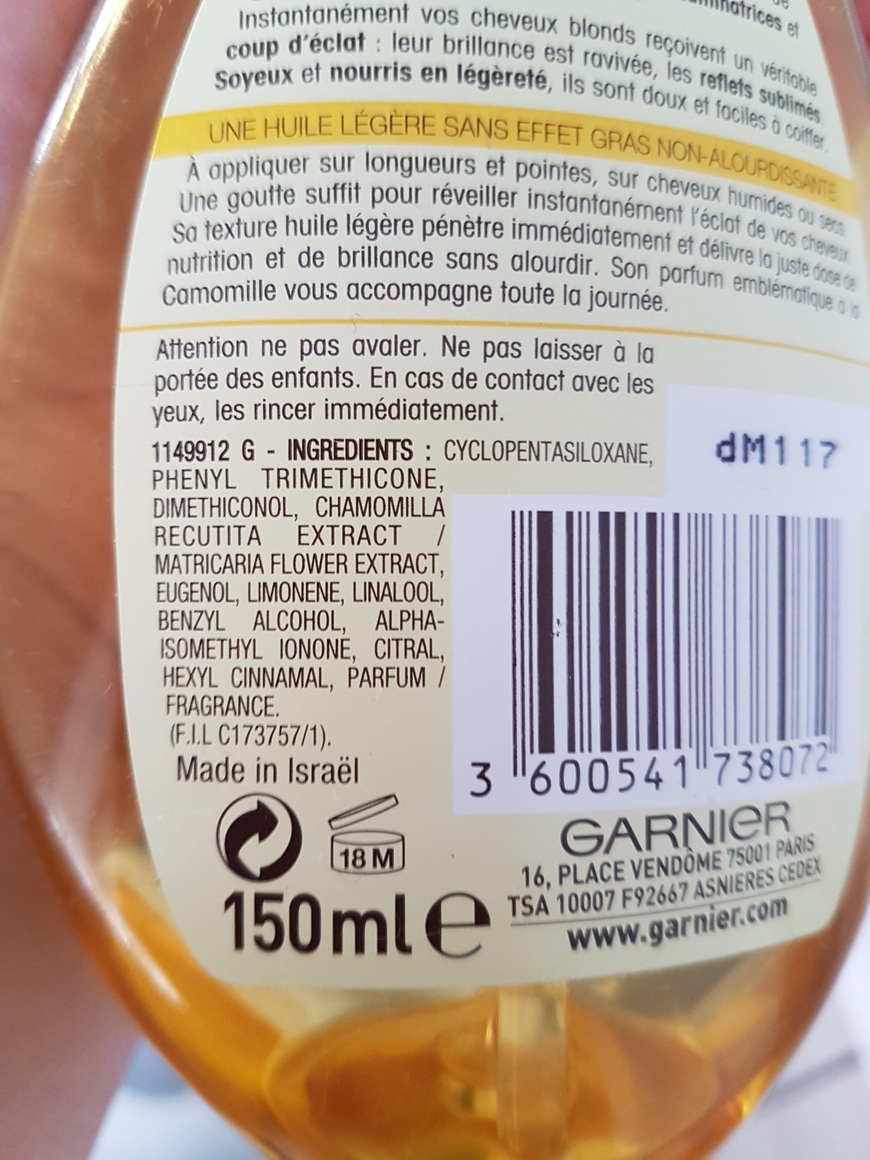huile de brillance à la camomille - Ingredients - fr