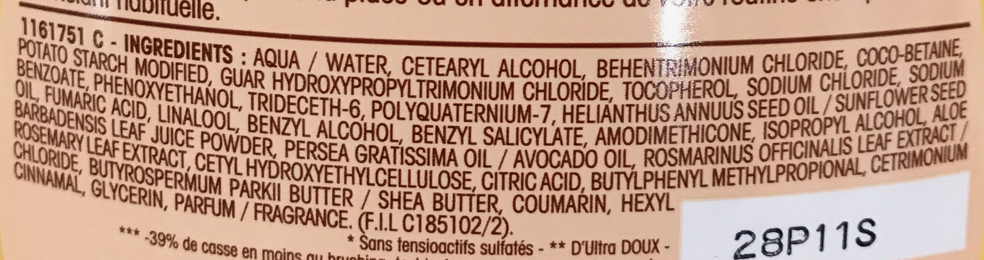 Ultra Doux Le Low Shampoo - Ingredients