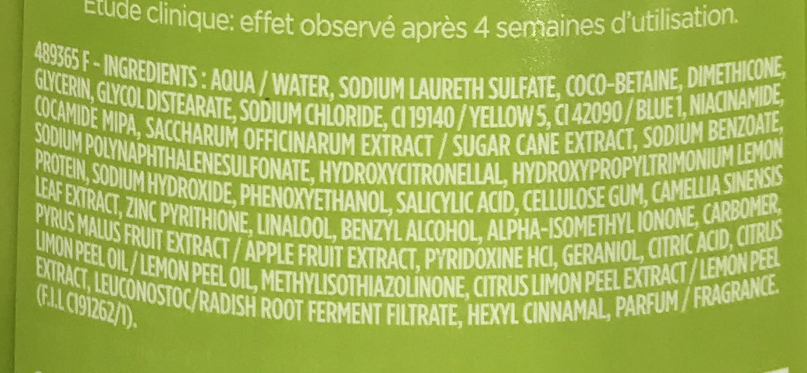 Fructis Anti-Pelliculaire - Ingredients
