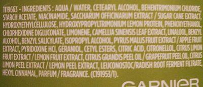 Garnier Fructis - Ingredients - en