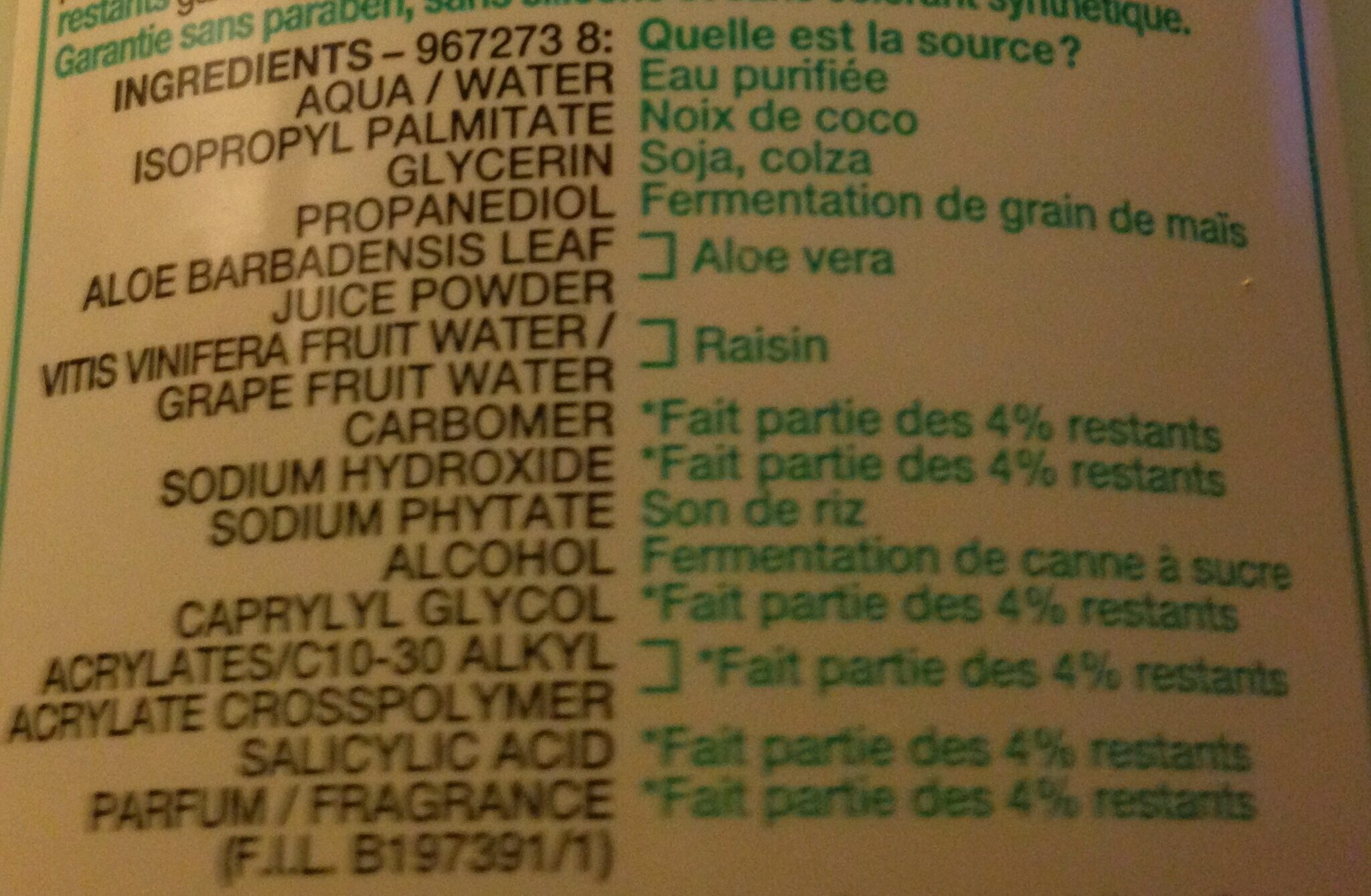 Lait Démaquillant végétal hydratant à l'Extrait d'Aloe - Ingredients - fr