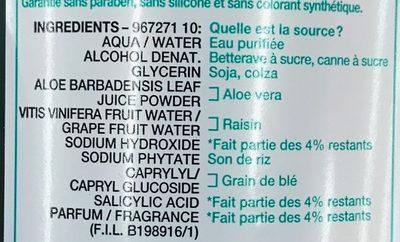 SkinActive Tonique végétal hydratant à l'extrait d'aloe - Ingrédients