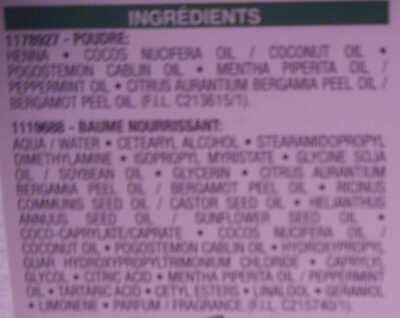 Herbalia châtain ambré - Ingredients