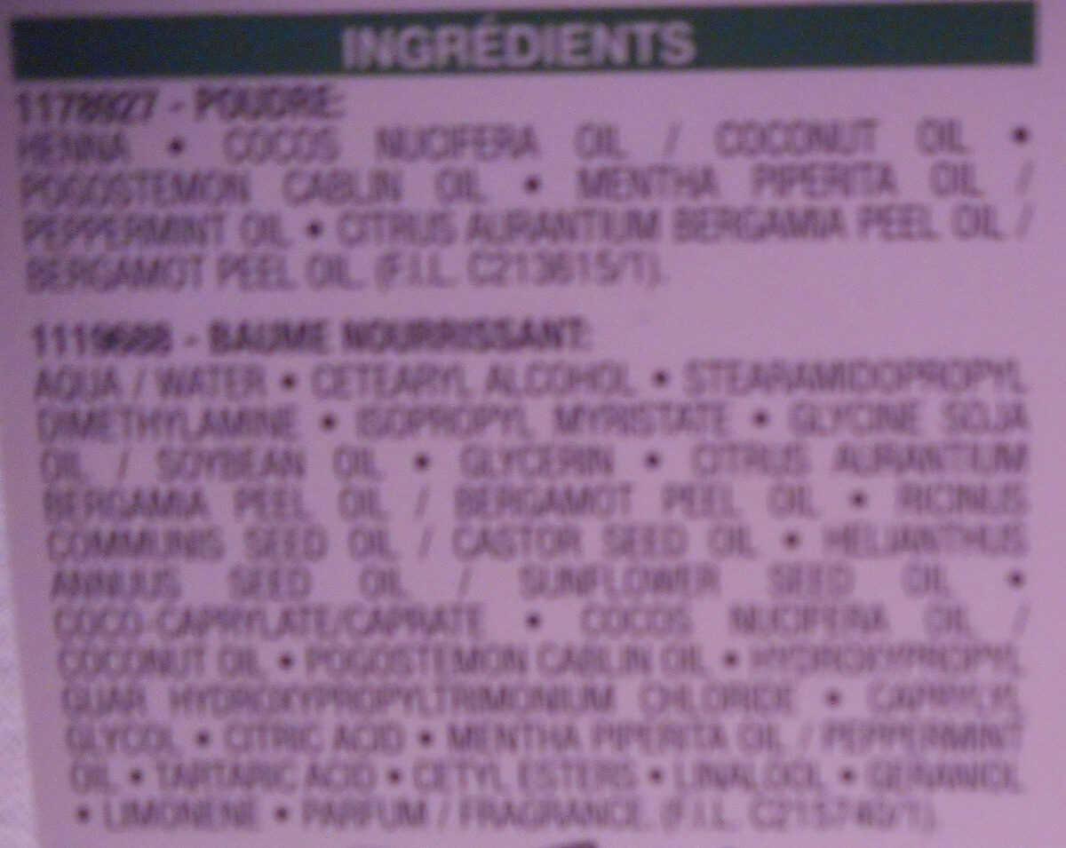 Herbalia châtain ambré - Ingredients - fr