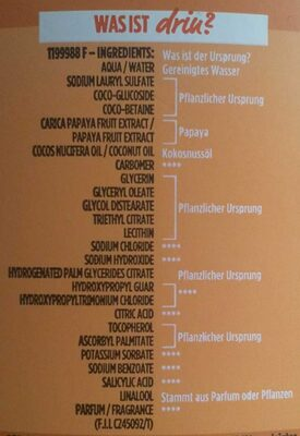 Papaya hair food Shampoo - Ingredients - de