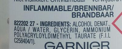 GEL HYDROALCOOLIQUE POUR L'ANTISEPSIE DES MAINS - Ingredients