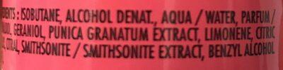 Déodorant à la pulpe de grenade des Açores - Ingrédients