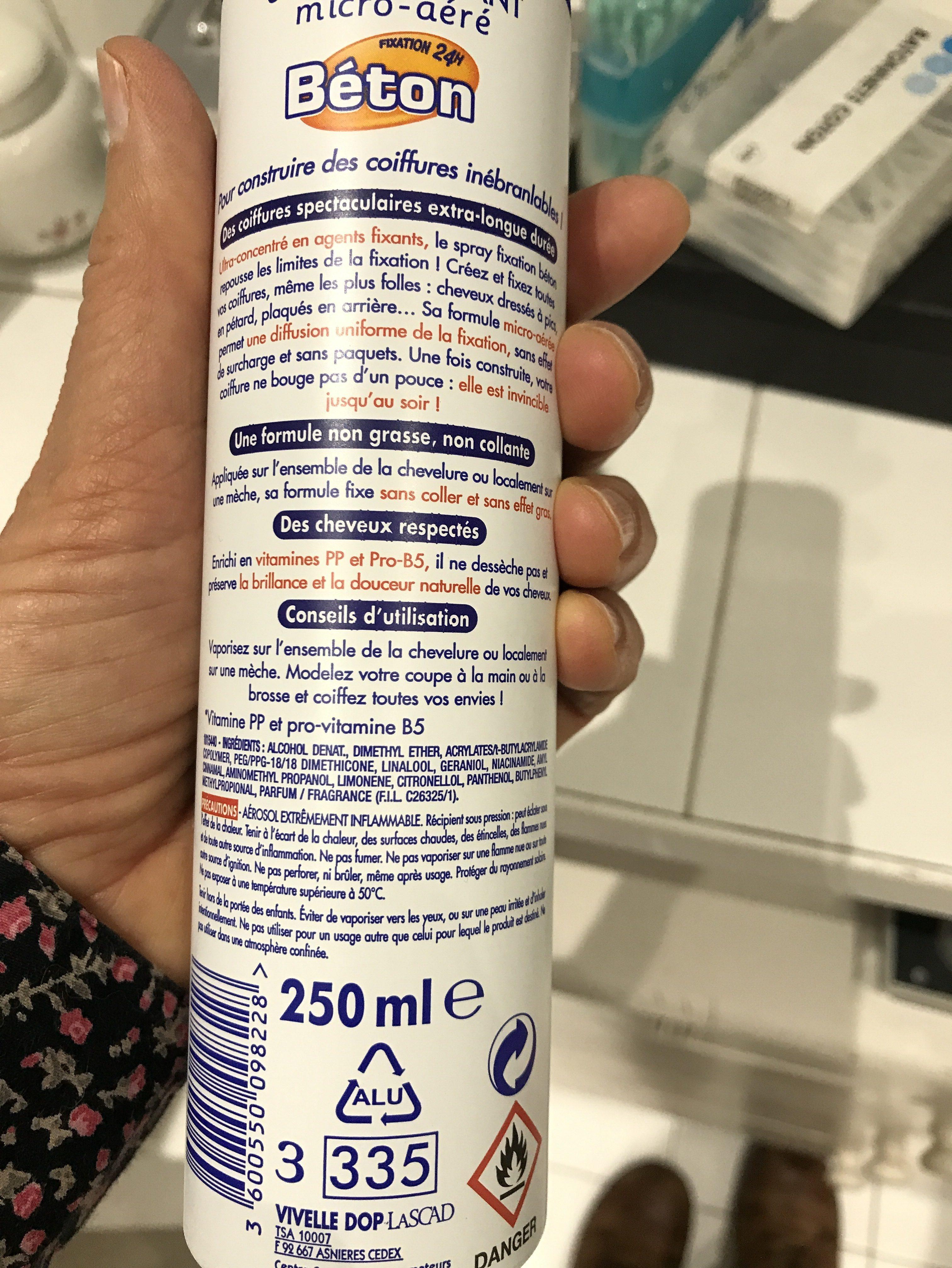 Spray coiffant micro-aéré, fixation béton - Ingredients - fr