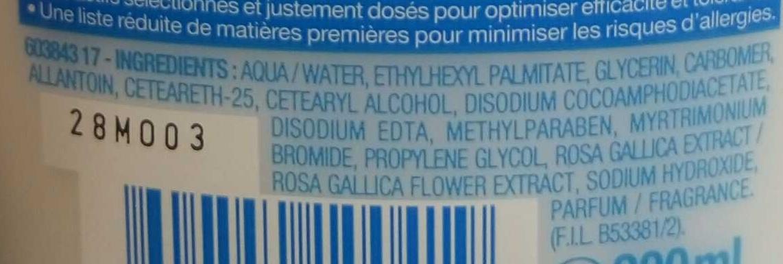 Lait démaquillant apaisant - Ingredients