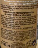 Elixir concentré de nutrition sans rinçage, aux 2 huiles riches d'onagre et de sésame, pointes et zones très desséchées - Ingredients - fr