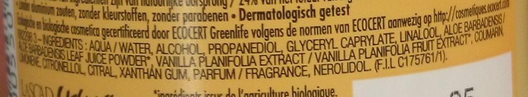 Déodorant Efficacité 24h - Vanille Bio - Ingredients