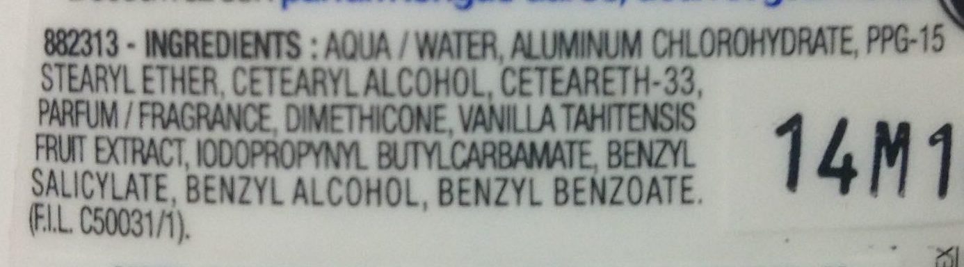 Anti-transpirant vanille 48H (maxi format) - Ingrédients